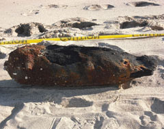 UXO bomb washed up on beach at Wasque Pt.