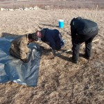 after locating potential UXO, the team carefully excavates