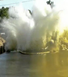 explosive demolition of barge canal pilings