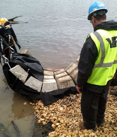 dive team assisting with shoreline stabilization