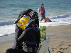 preparing to dive from the beach
