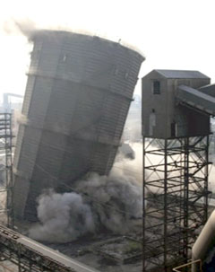 demolition of one of the ArcelorMittal towers