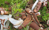 UXO littering a military firing range