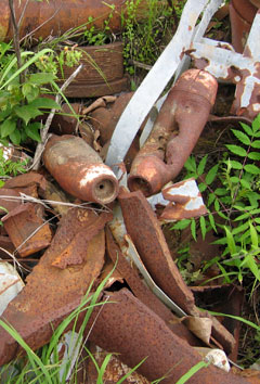 rusted rockets and other firing range waste